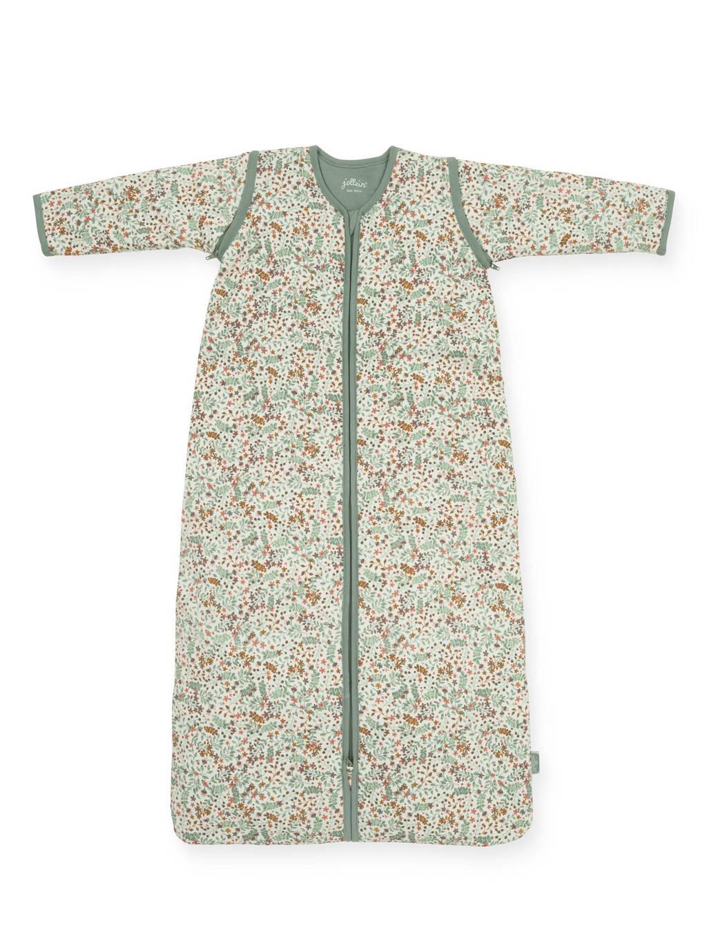 Jollein baby slaapzak bloemen met afritsbare mouw, Groen