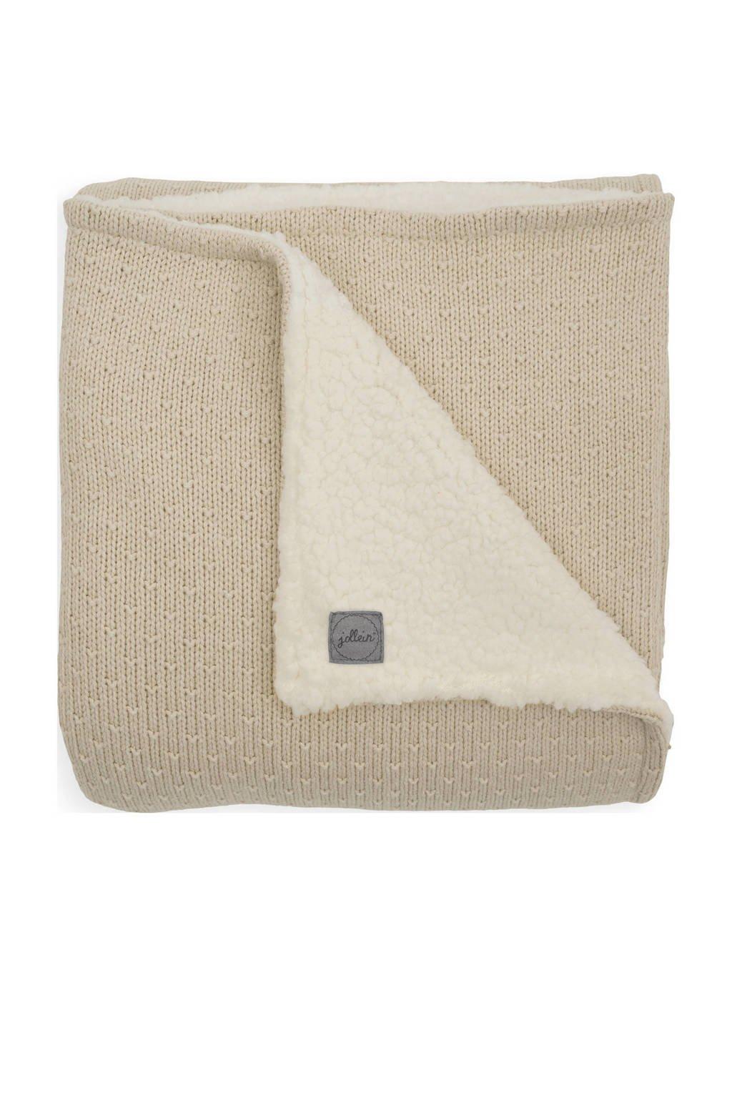 Jollein baby ledikant deken teddy 100x150cm Bliss knit nougat, Beige
