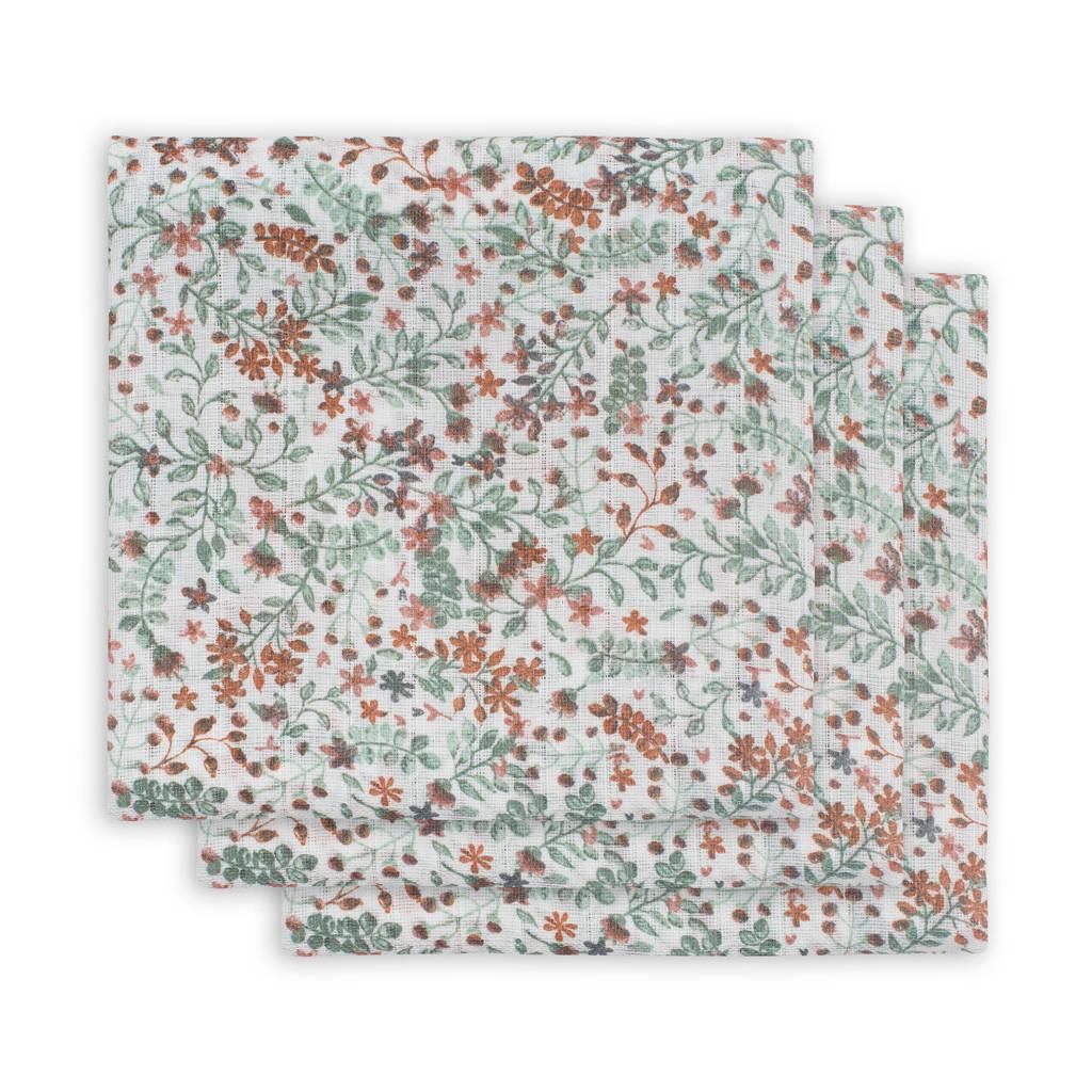 Jollein hydrofiel multidoek small 70x70cm - set van 3 bloemen groen, Groen
