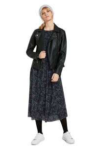 Tom Tailor semi-transparante A-lijn jurk met all over print en plooien zwart/donkerblauw/groen