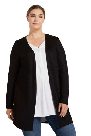 fijngebreid vest met glitters zwart