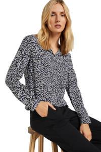 Tom Tailor blouse met all over print zwart/blauw/wit, Zwart/blauw/wit