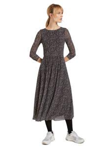 Tom Tailor semi-transparante A-lijn jurk met all over print en plooien zwart/blauw/lichtgrijs, Zwart/blauw/lichtgrijs