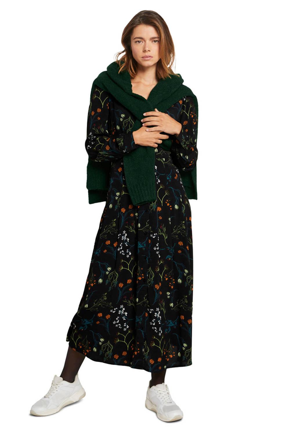 Tom Tailor Denim gebloemde blousejurk zwart/groen/blauw, Zwart/groen/blauw