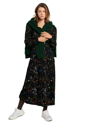 gebloemde blousejurk zwart/groen/blauw