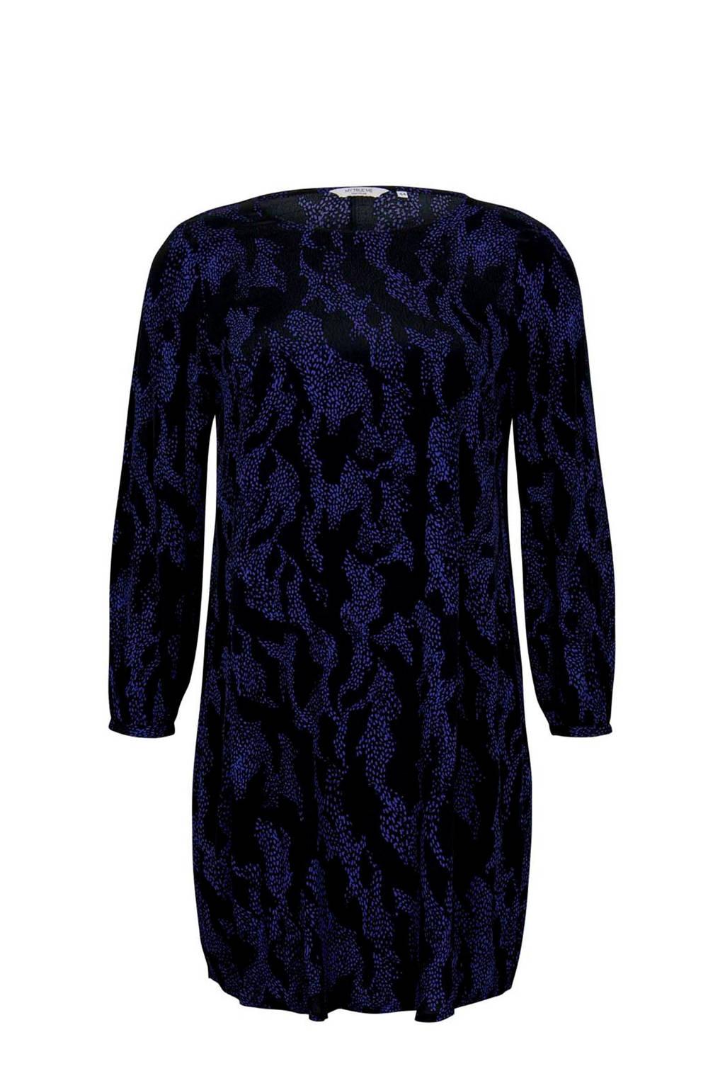 Tom Tailor My True Me jurk met all over print zwart/donkerblauw, Zwart/donkerblauw