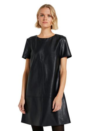 coated A-lijn jurk zwart