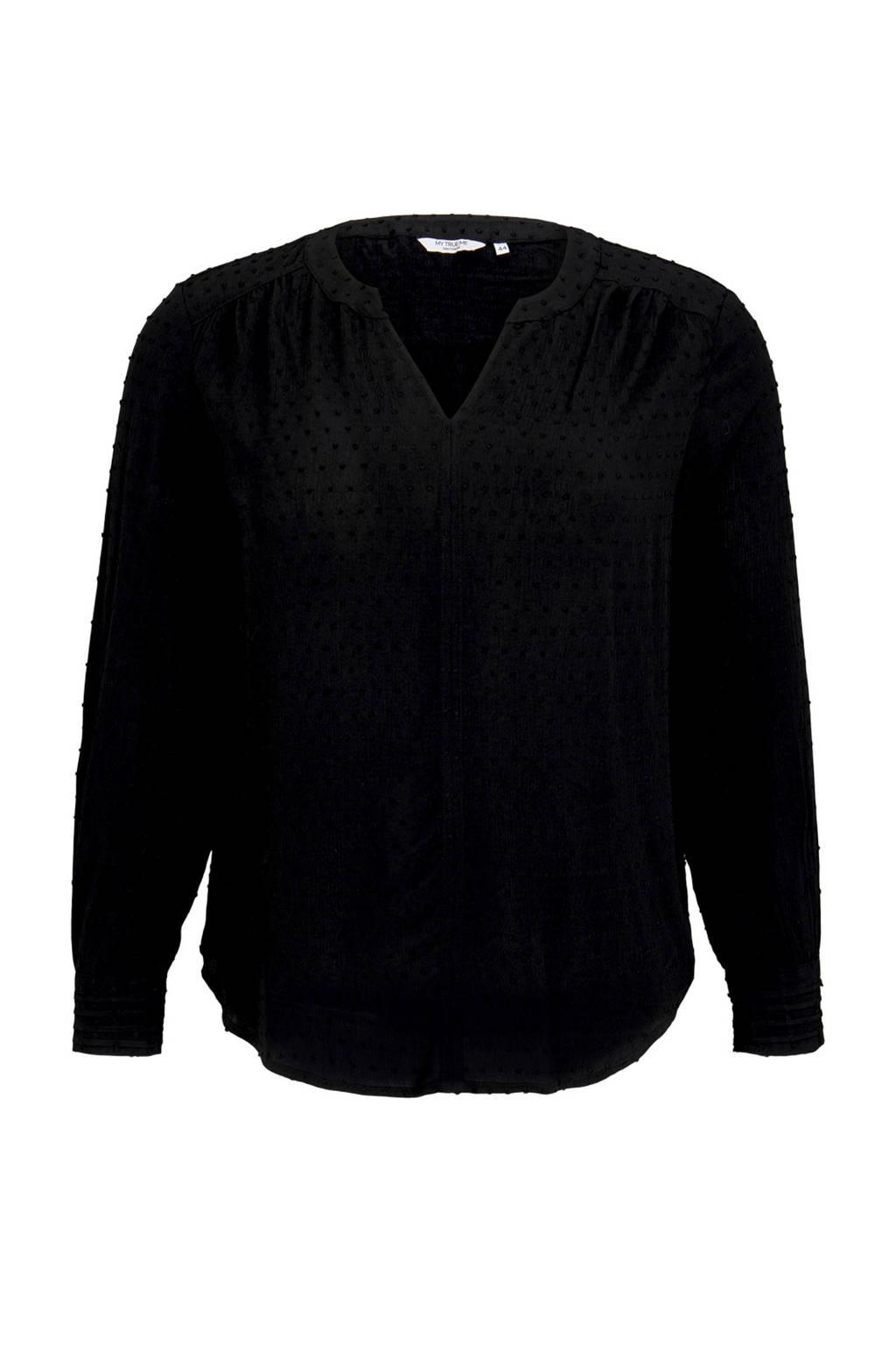 Tom Tailor My True Me semi-transparante geweven top met stippen zwart, Zwart