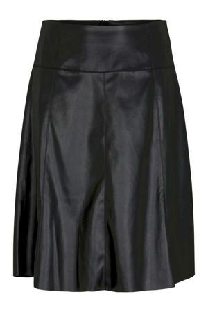coated rok met plooien zwart