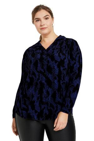 blouse met all over print donkerblauw/zwart