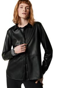 Tom Tailor coated blouse zwart, Zwart