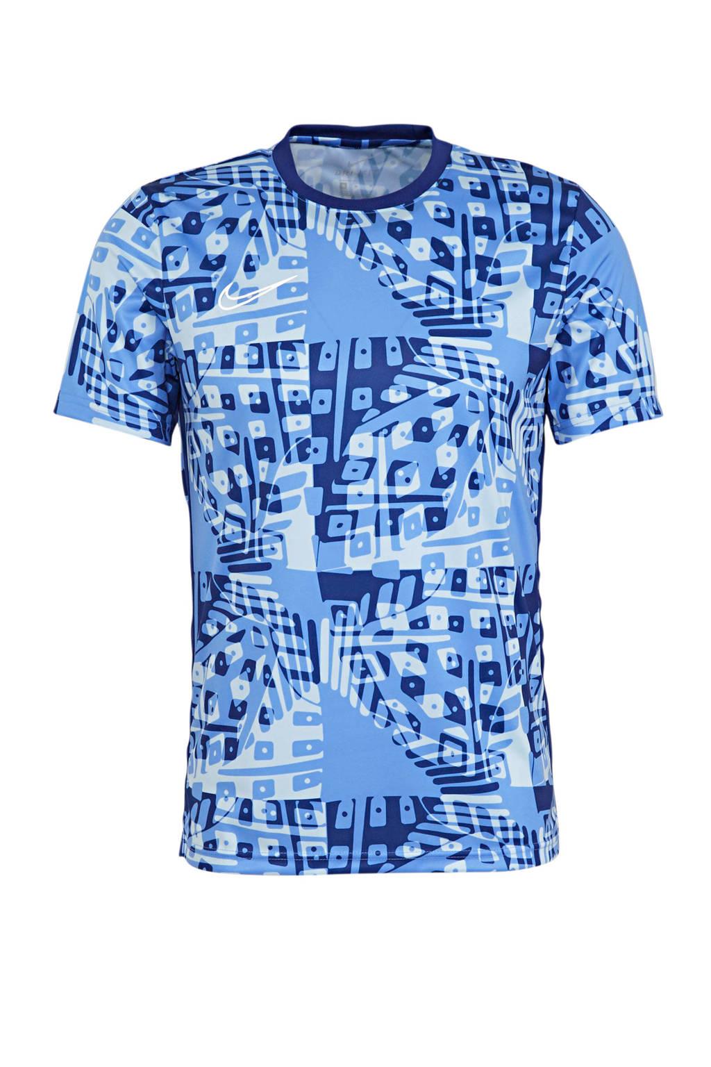 Nike Senior  voetbal T-shirt blauw, Blauw/wit