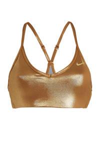 Nike sportbh level 1 metallic goud, Metallic goud