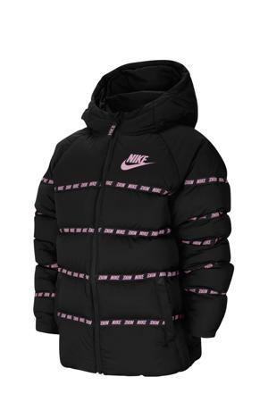 gewatteerde winterjas zwart/roze