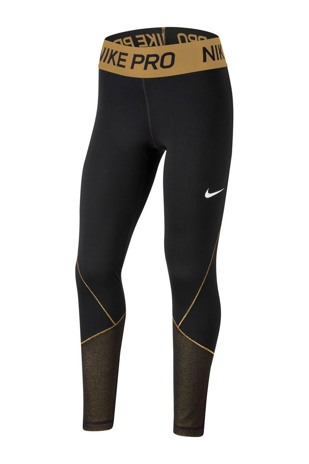 Nike legging zwart/goud, Zwart/goud