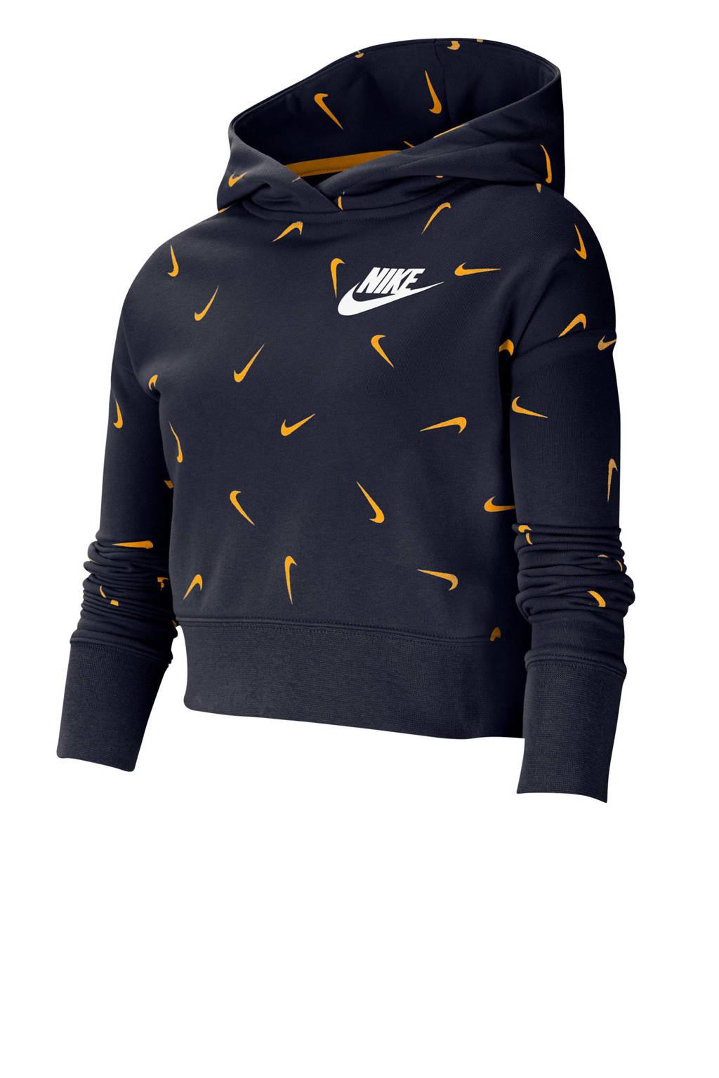 Nike cropped hoodie donkerblauw/goud, Donkerblauw/goud