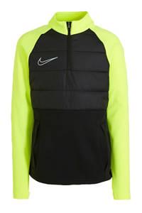 Nike   softshell sportsweater zwart/limegroen, Zwart/limegroen