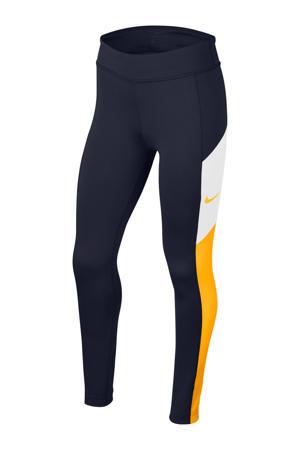 sportbroek  donkerblauw/geel/wit