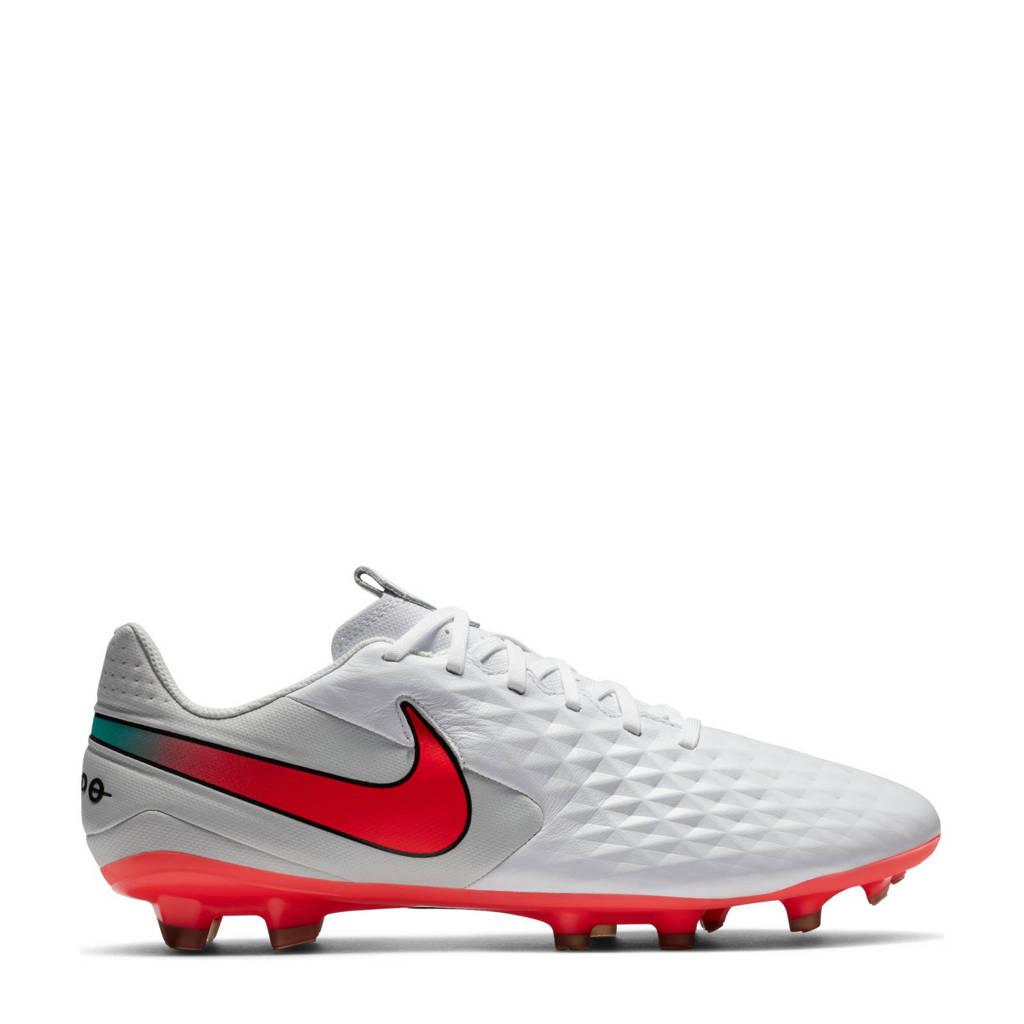 Nike  Sr. Legend 8 Academy FG/MG voetbalschoenen wit/rood/grijs, Wit/Rood/Grijs