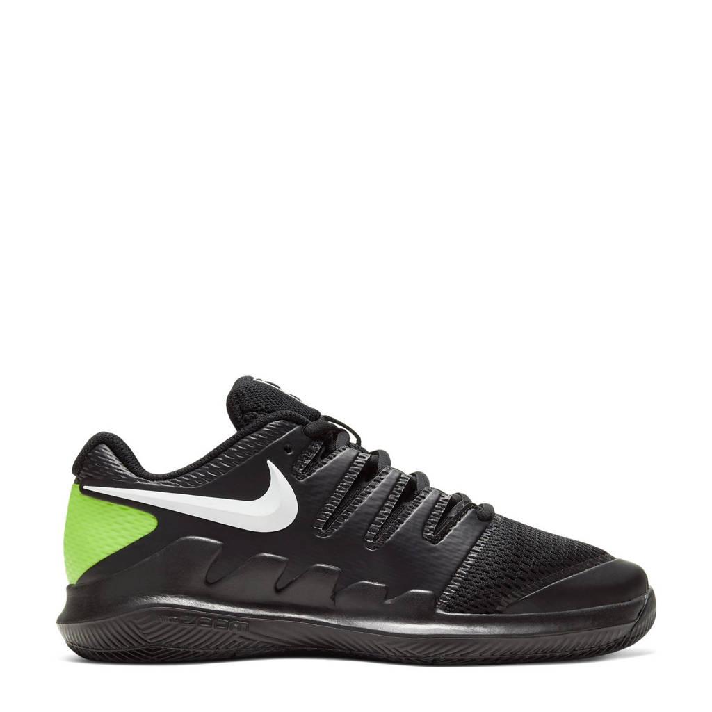 Nike Court Jr. Vapor X  tennisschoenen zwart/wit/limgroen, Zwart/wit/limegroen