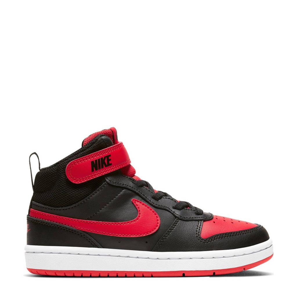 Nike COURT BOROUGH MID 2 (PSV) leren sneakers zwart/rood, Zwart/rood