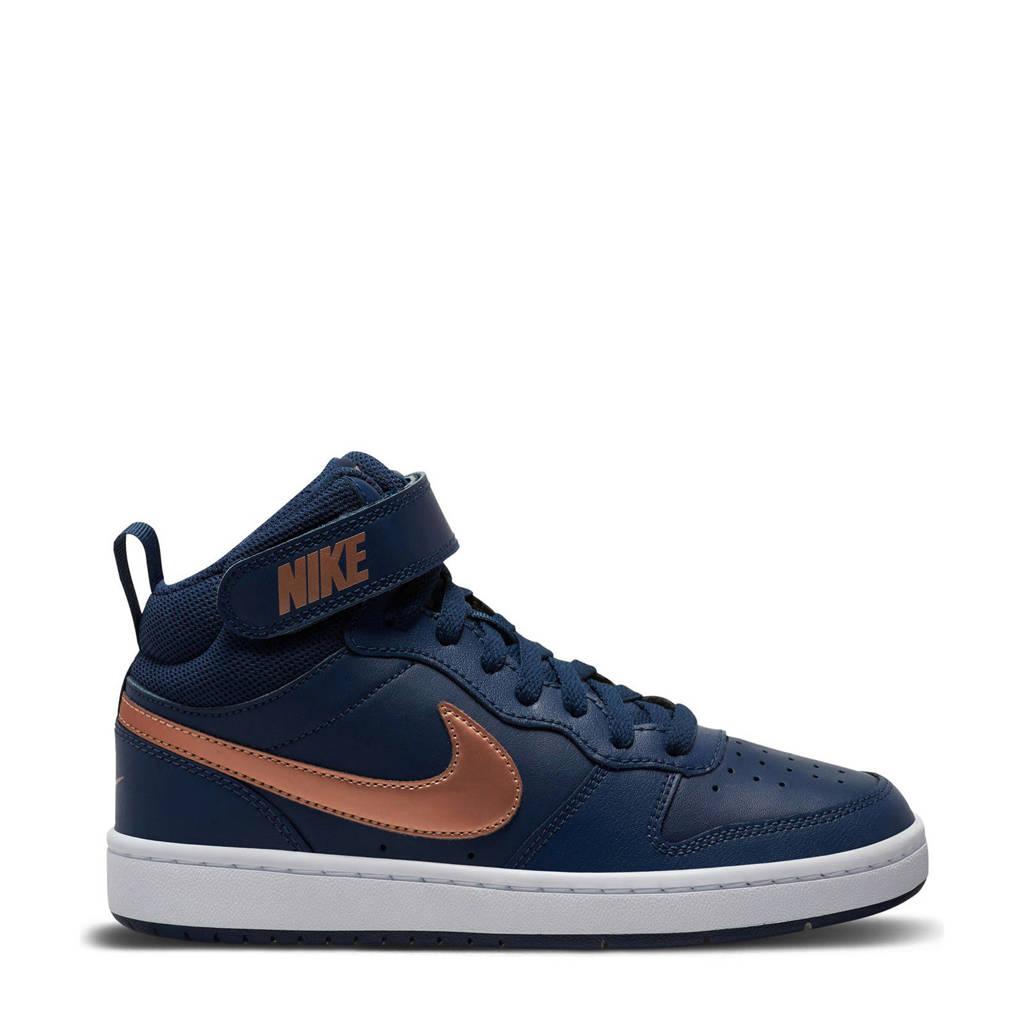 Nike Court Borough Mid 2 (GS) leren sneakers donkerblauw/brons