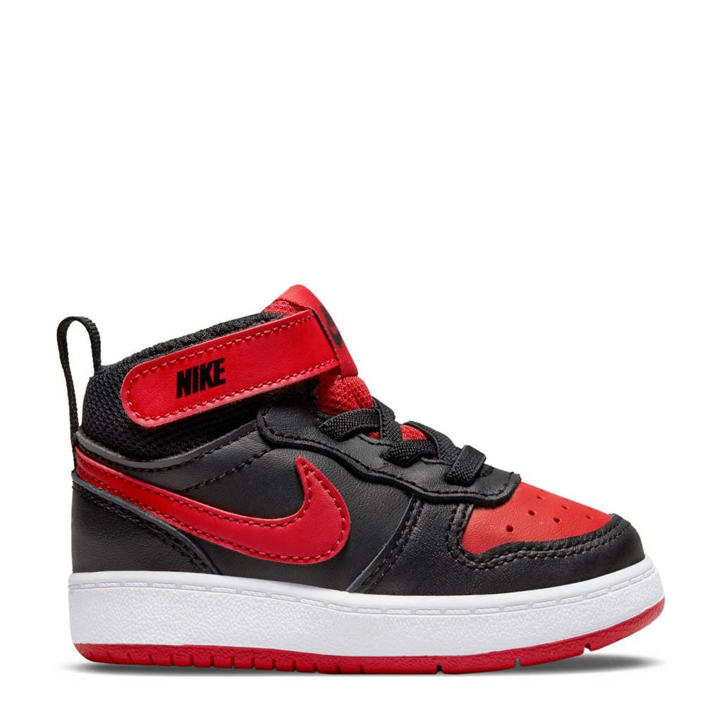Nike COURT BOROUGH MID 2 (TDV) leren sneakers zwart/rood, Zwart/rood