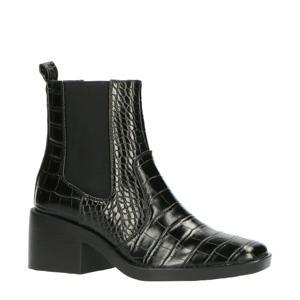 chelsea boots crocoprint zwart