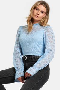 Eksept by Shoeby top Lexie met kant lichtblauw, Lichtblauw