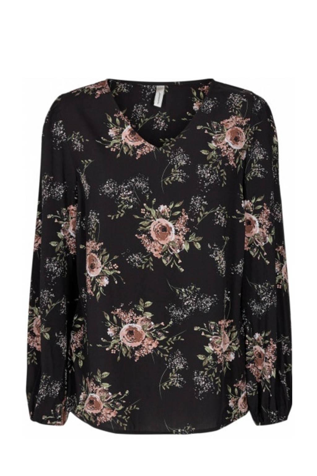 Soyaconcept blouse met all over print zwart, Zwart