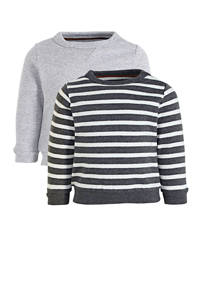 C&A Baby Club gestreepte sweater lichtgrijs/antraciet/wit, Lichtgrijs/antraciet/wit