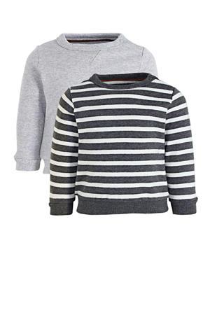 gestreepte sweater lichtgrijs/antraciet/wit