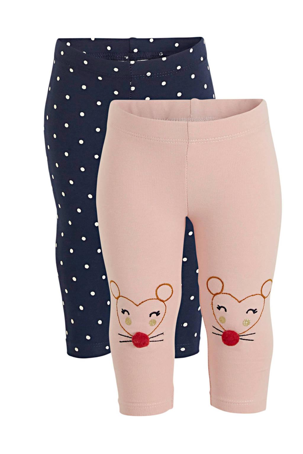 C&A Baby Club legging - set van 2 roze/donkerblauw, Roze/donkerblauw
