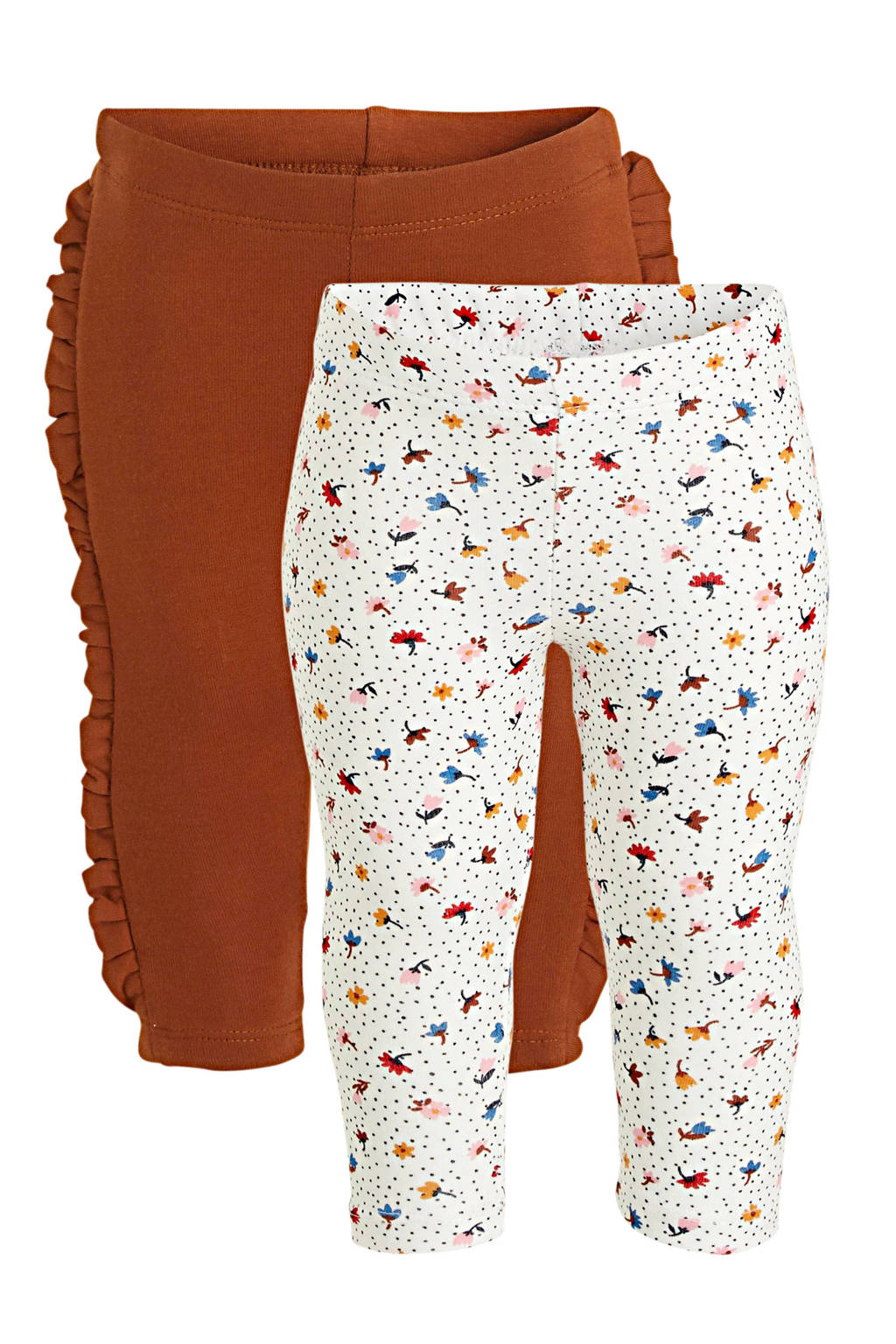 C&A Baby Club legging - set van 2 ecru/roodbruin, Ecru/roodbruin