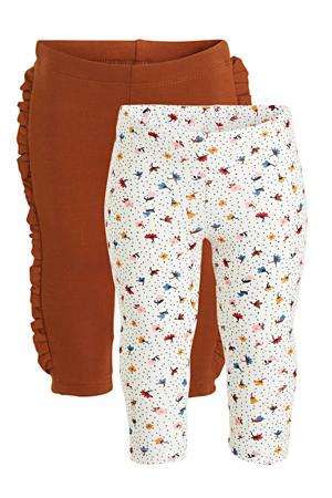 legging - set van 2 ecru/roodbruin