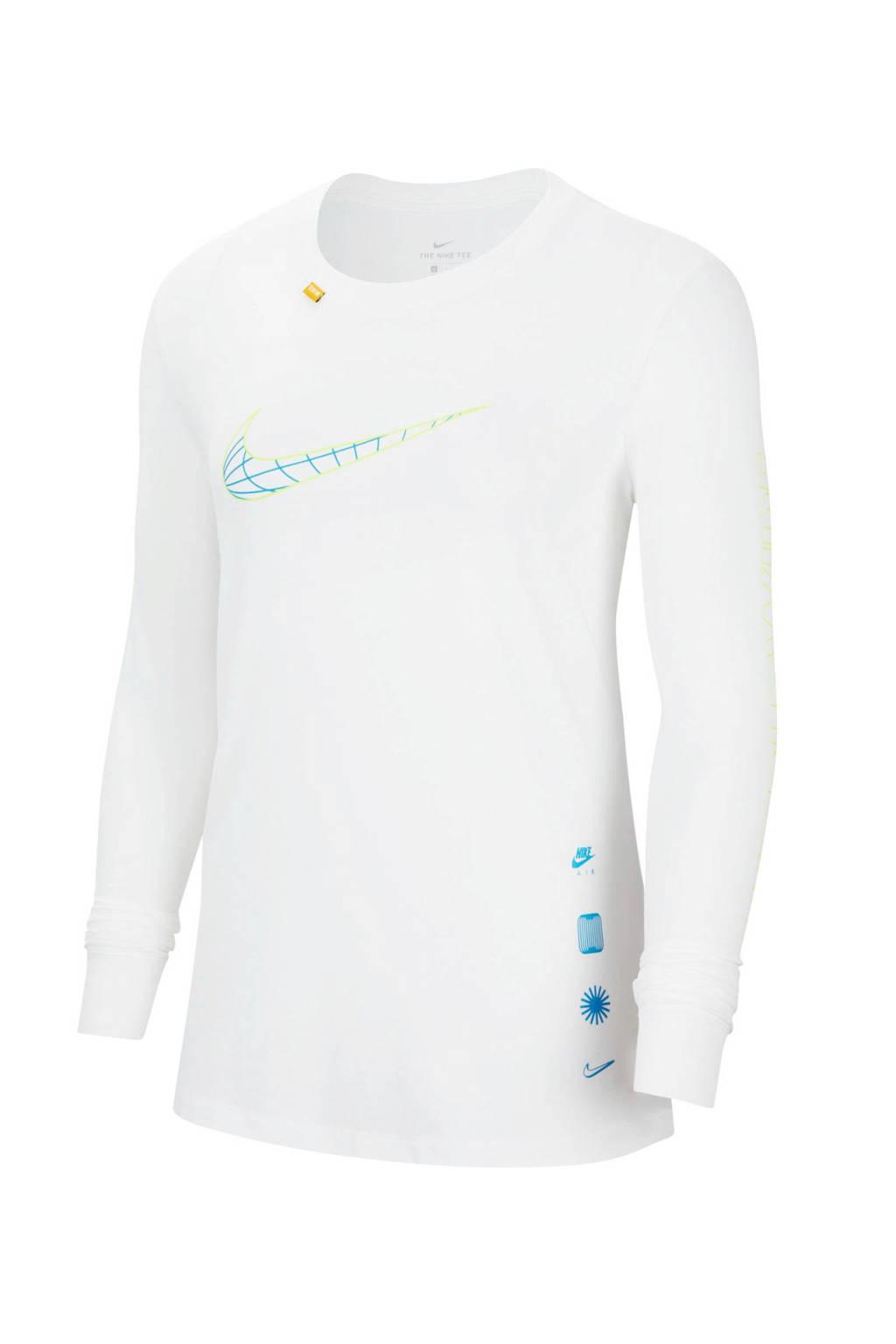 Nike longsleeve wit/geel/blauw, Wit/geel/blauw