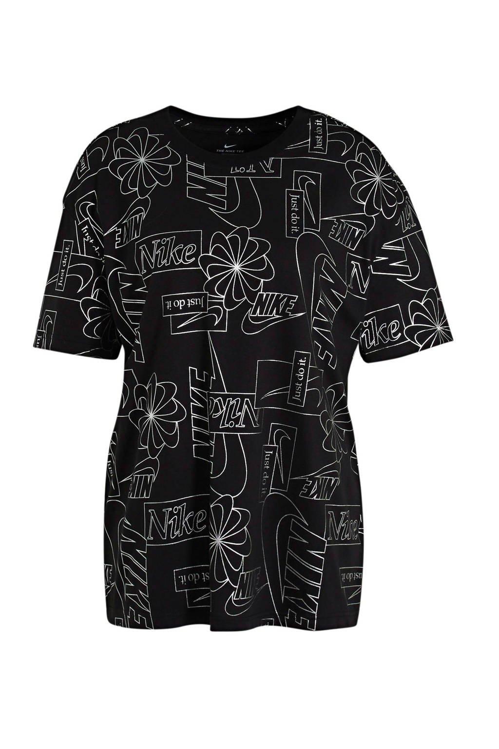Nike T-shirt zwart/wit, Zwart