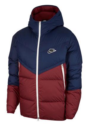 gewatteerde jas donkerblauw/donkerrood