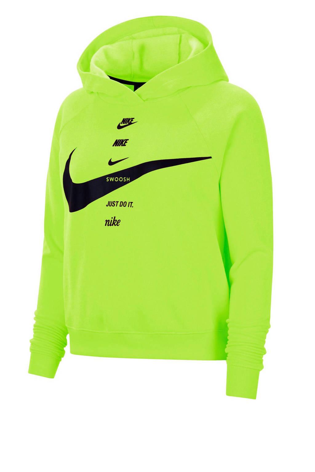Nike hoodie limegroen/zwart, Limegroen/zwart