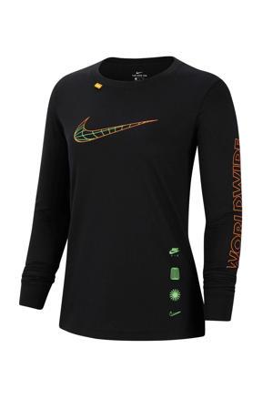 Longsleeve zwart/groen/oranje