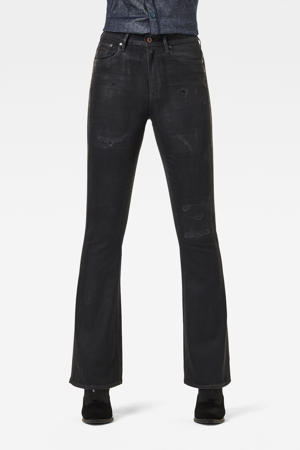 3301 high waist flared jeans met biologisch katoen black radiant cobler restored