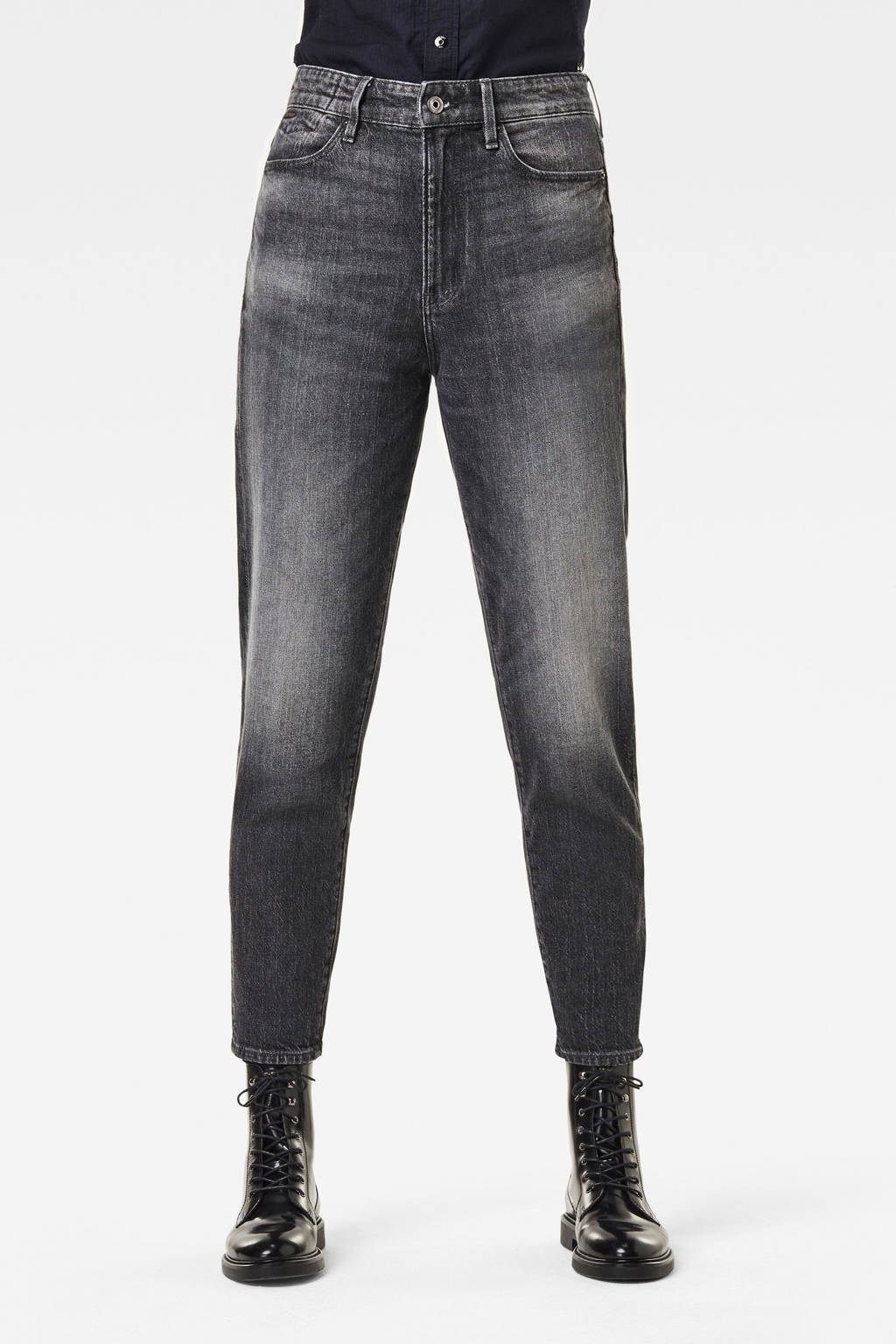 G-Star RAW Janeh cropped high waist mom jeans met biologisch katoen faded basalt, Faded Basalt
