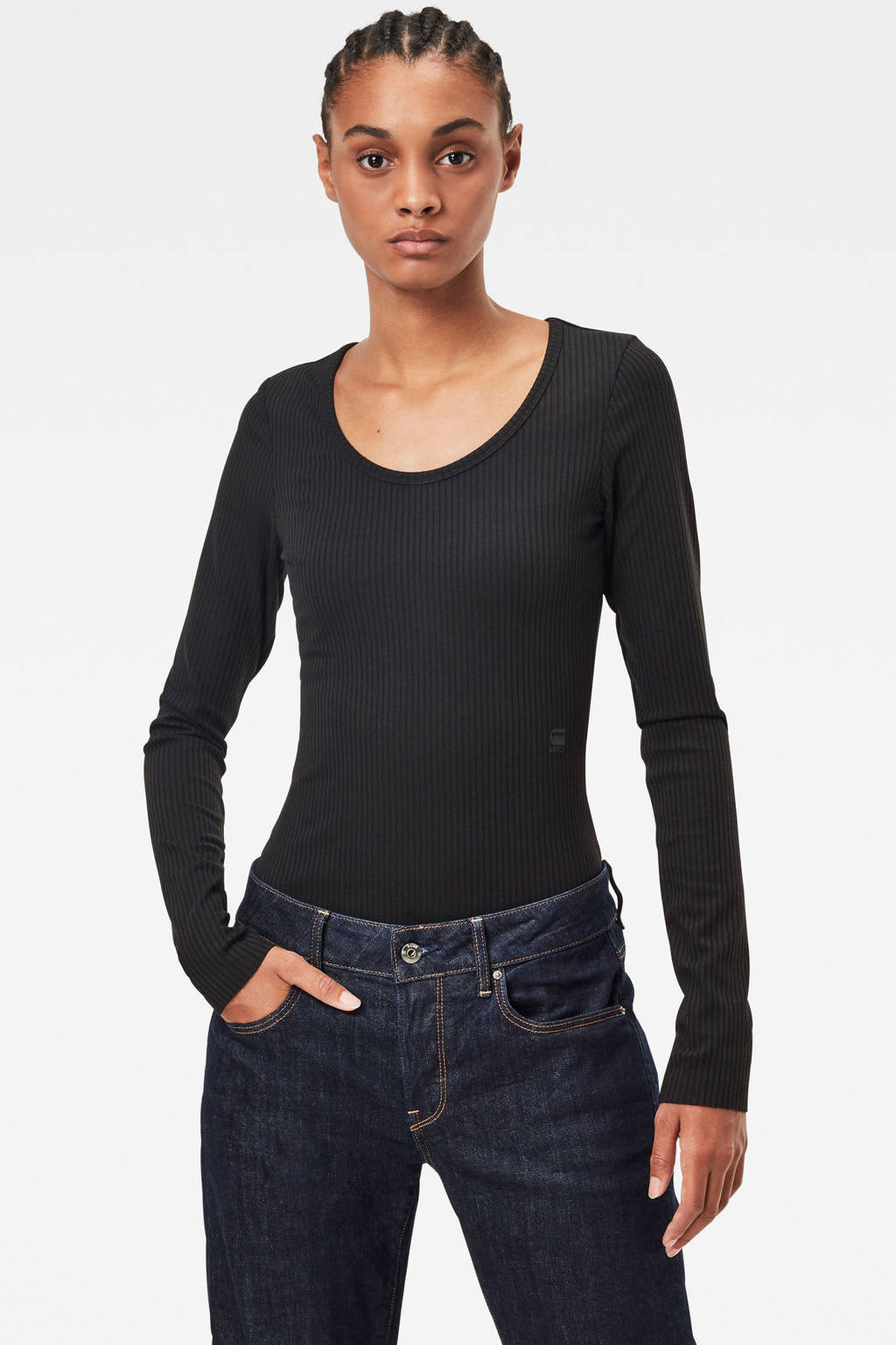 G-Star RAW ribgebreide body zwart, Zwart