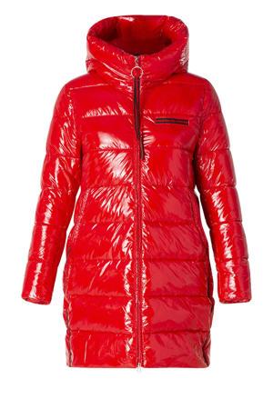 gewatteerde jas rood/zwart