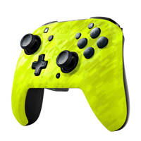 PDP Faceoff draadloze deluxe controller Neon Yellow Camo, Geel