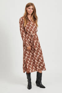 VILA maxi blousejurk Oti met all over print en ceintuur bruin/roze, Bruin/roze
