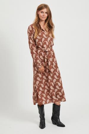 maxi blousejurk Oti met all over print en ceintuur bruin/roze