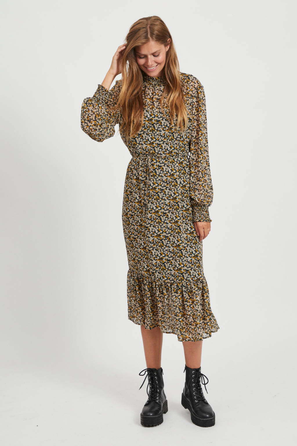 VILA midi jurk Fimi met all over print en volant zwart/multi, Zwart/multi