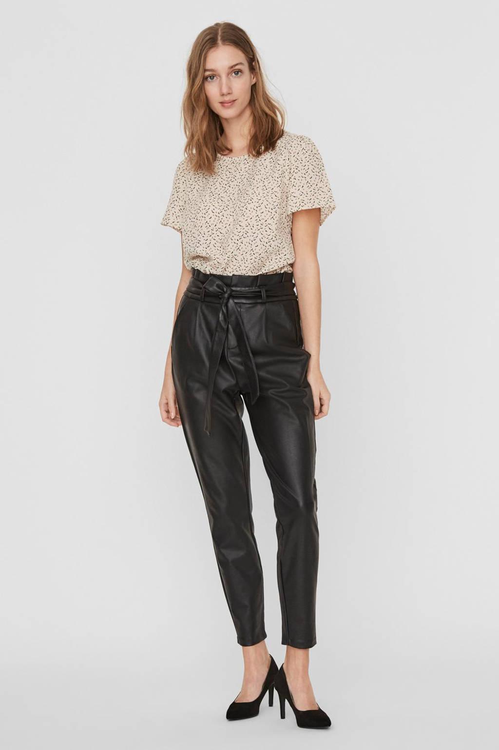VERO MODA imitatieleren high waist tapered fit broek Eva zwart, Zwart