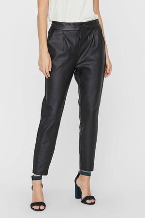 loose fit broek met coating zwart